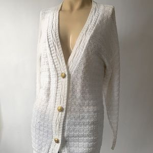 Vintage Waffle Knit Cardigan with Gold Buttons